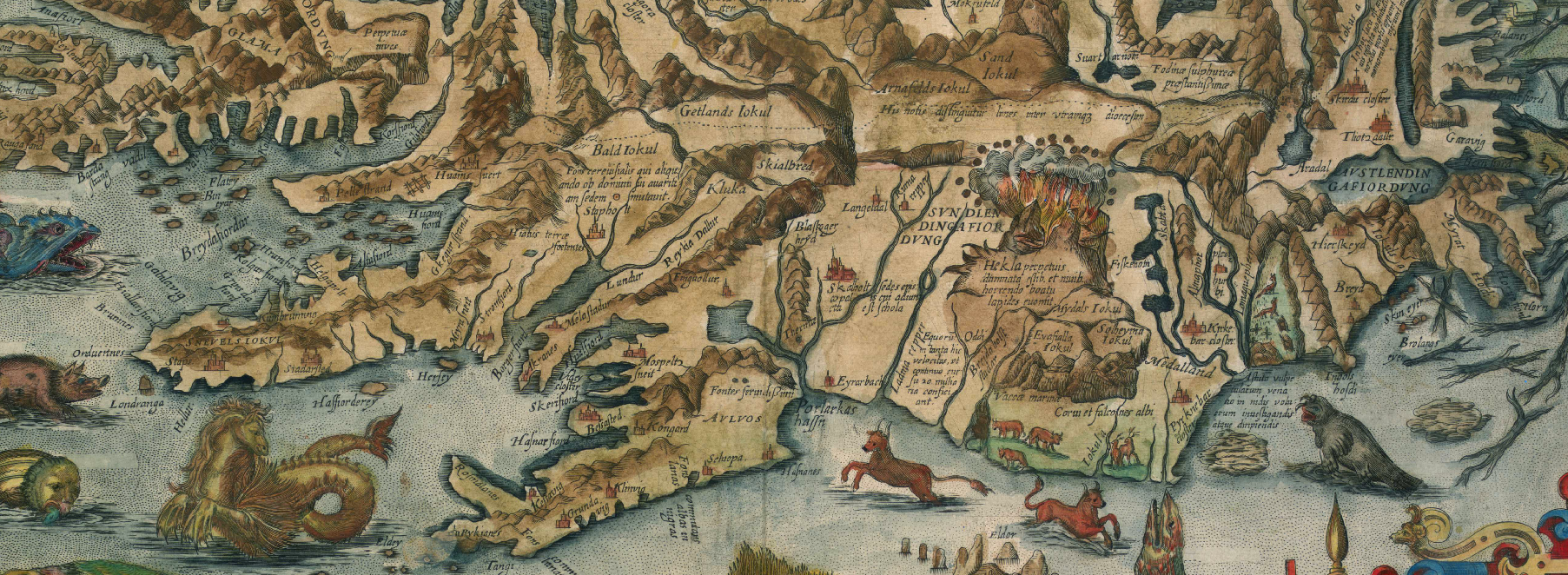 "Detail of the historical map ""Islandia"", by Jean Boisseau. Théatre Géographique du Royaume de France. France, about 1648. The map is in the public domain."